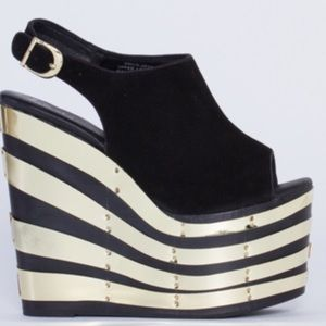 Jeffery Campbell Black Suede and Gold platforms!